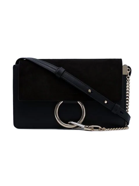ChloÉ Mini Faye Shoulder Bag In Black Suede And Leather In 001 Black