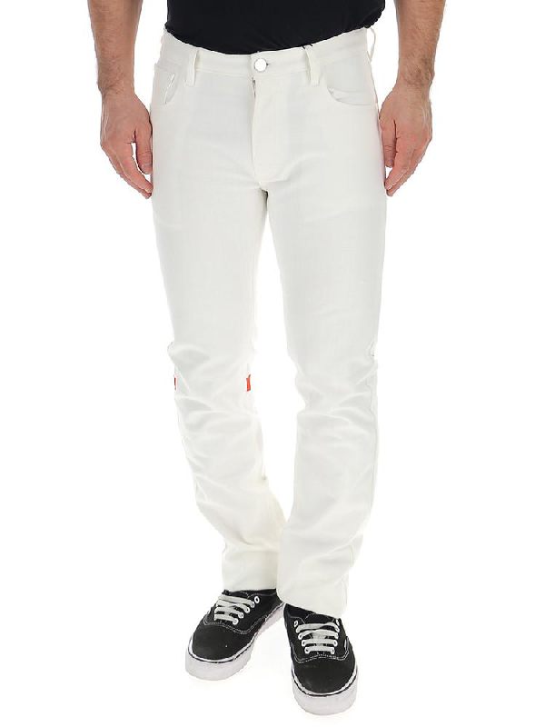 Raf Simons Boot Cut Straight Jeans In White