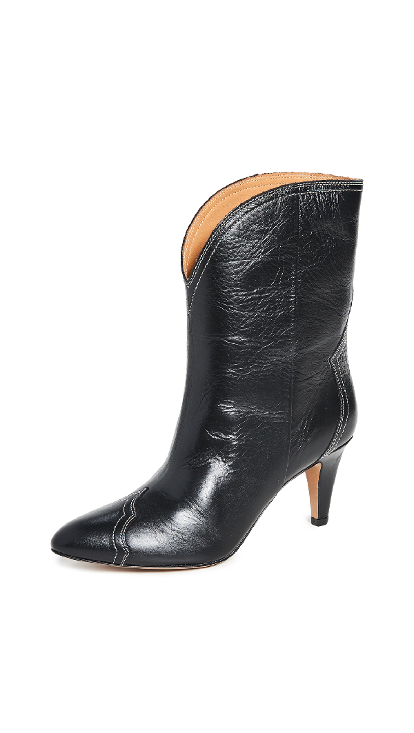 Isabel Marant Dythey Leather Ankle Boots In Black