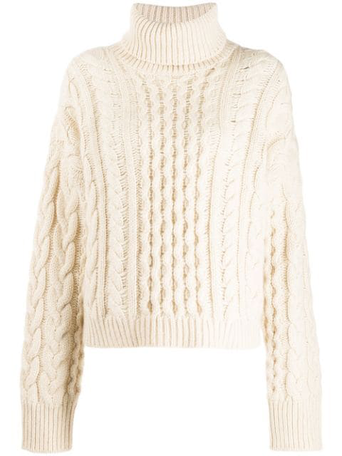 Alanui Cable Knit Jumper In White