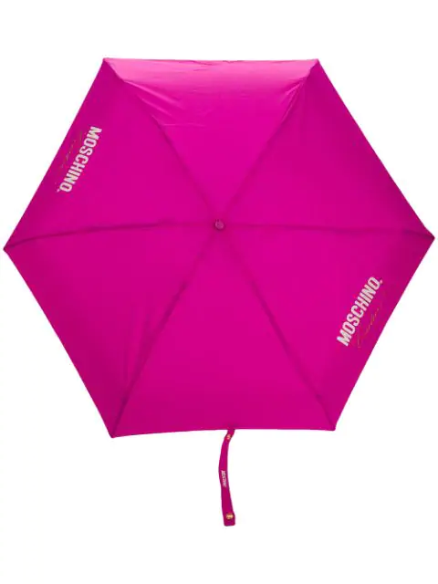 Moschino Super Mini Logo-print Umbrella In Pink