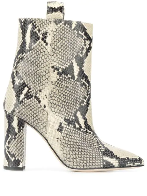 Paris Texas Snake-effect 100mm Ankle Boots In Neutrals