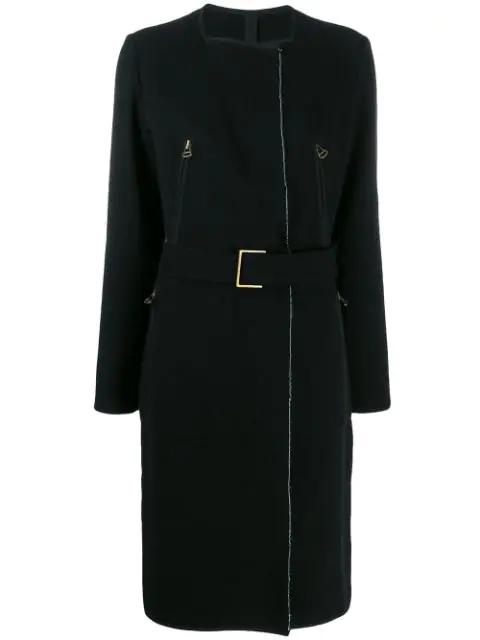 Lanvin 2003's Belted Midi Coat In Black
