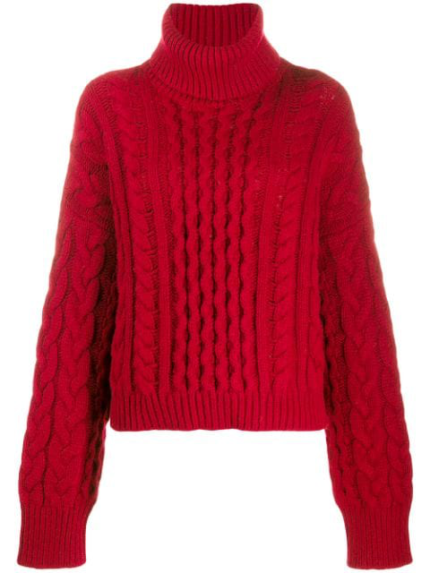 Alanui Cable-knit Jumper In Red