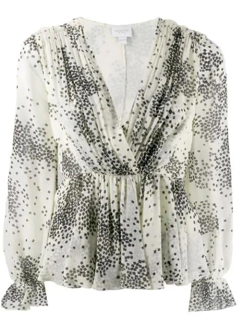 Giambattista Valli Square-Print Ruffled Silk Blouse In White