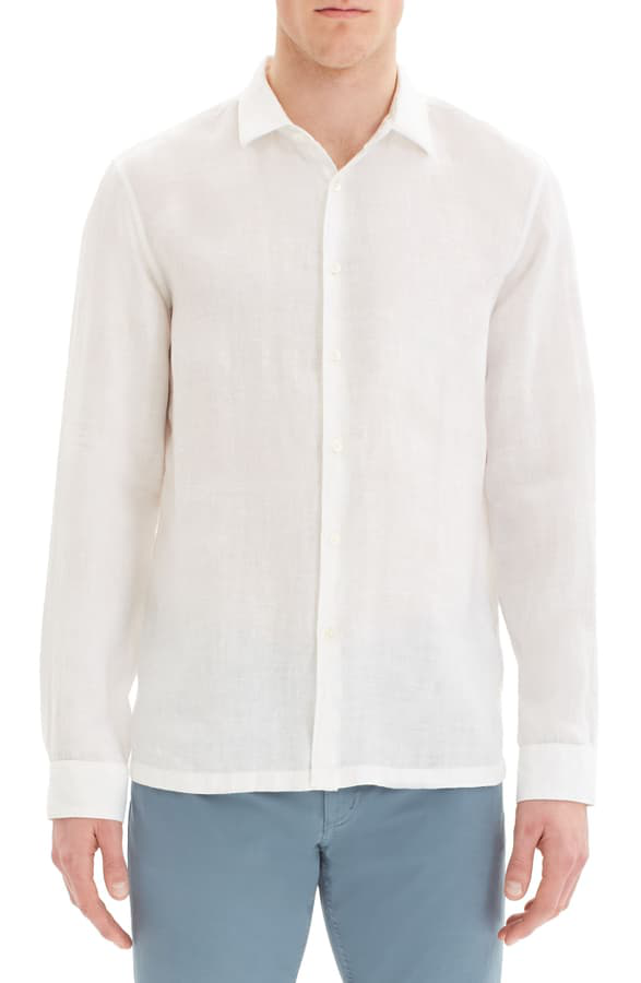 Theory Murray Slim Fit Linen Button-up Shirt In White