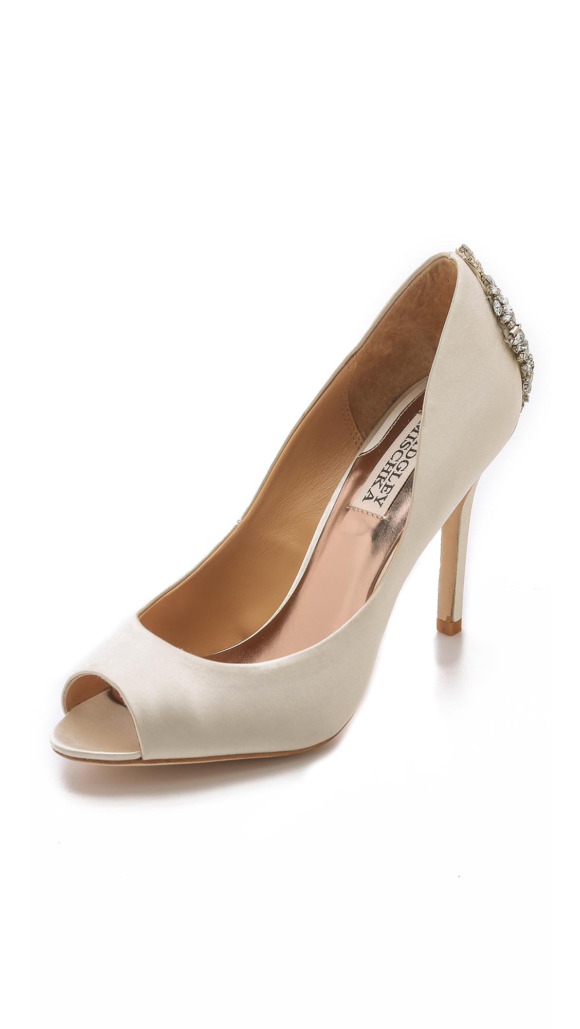 Badgley Mischka Nilla Peep-Toe Evening Pumps Women's Shoes In Ivory