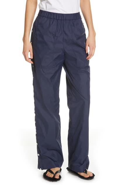 Tibi Side Snap Nylon Track Pants In Navy