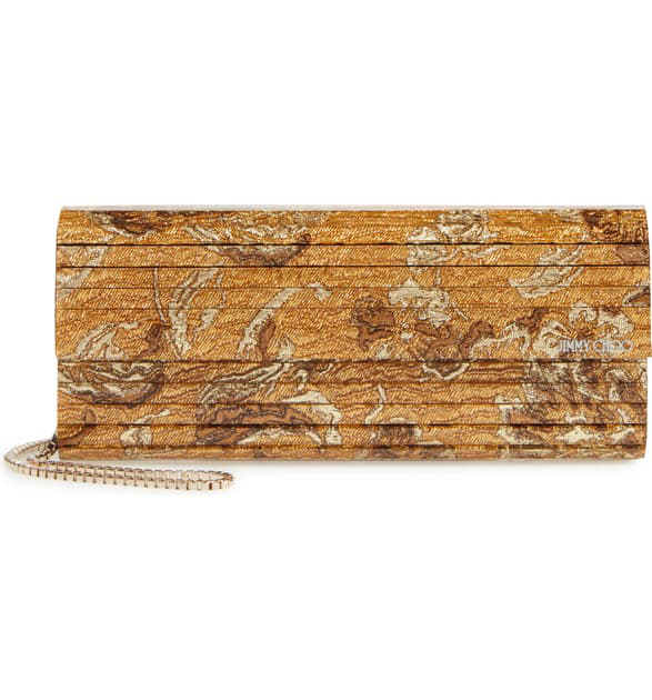 Jimmy Choo Sweetie Brocade Acrylic Clutch Bag In Gold