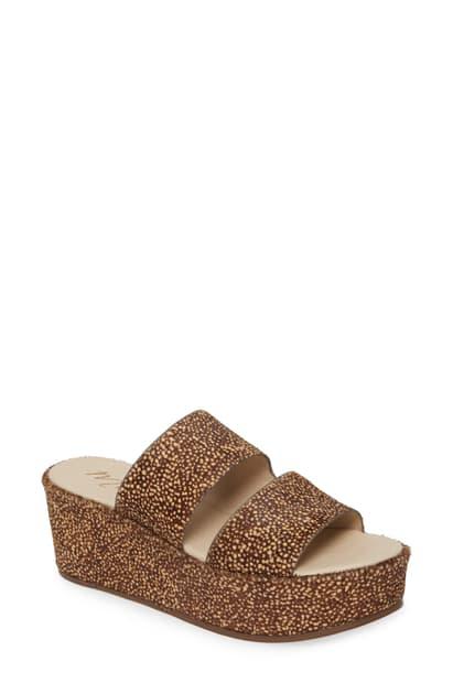 Matisse Struttin' Platform Wedge Genuine Calf Hair Slide Sandal In Natural Spot Calf Hair