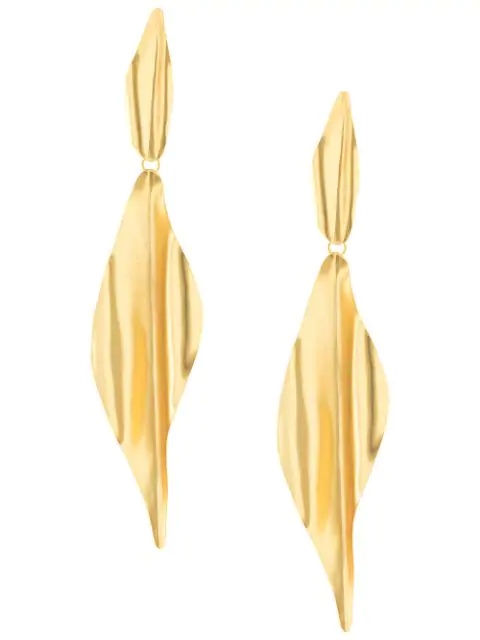 Mercedes Salazar Long Textured Earrings In Gold