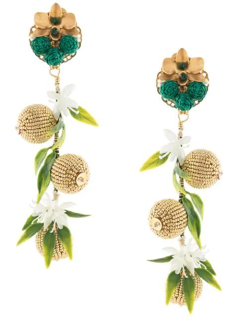 Mercedes Salazar Bead Embellished Earrings In Gold