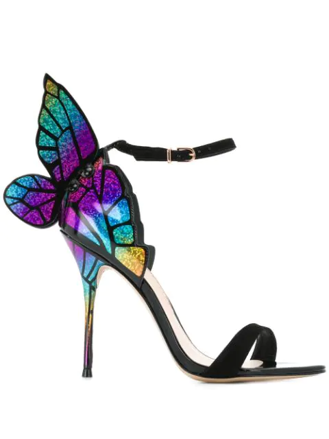 Sophia Webster Butterfly Heeled Sandals In Black Rainbow