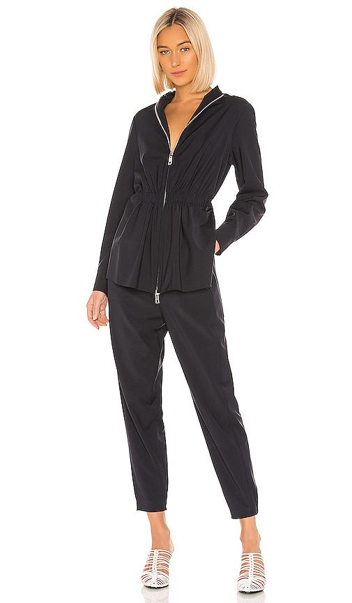 Tibi Double-Layer Plain-Weave Jumpsuit In Dark Navy