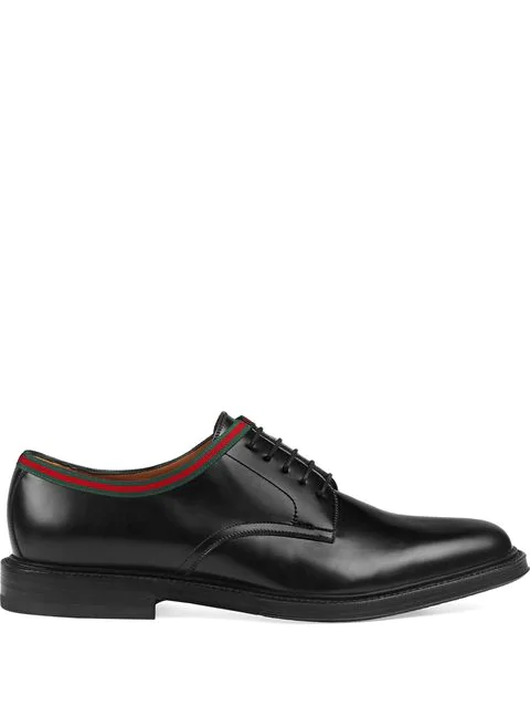 Gucci Beyond Web-Striped Leather Derby Shoes In Black