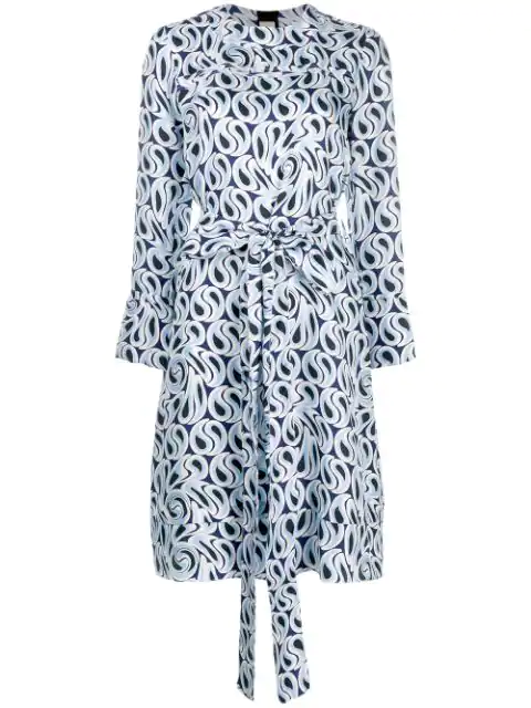 Marni Long-Sleeved Printed Dress In Blue