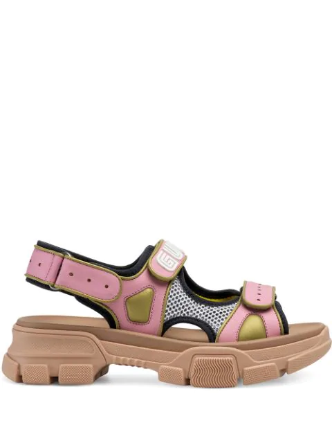 Gucci Women's Leather And Mesh Sandal In Pink
