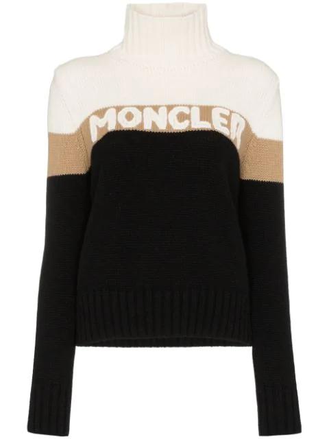 Moncler Logo Intarsia Wool & Cashmere Sweater In 999 Black