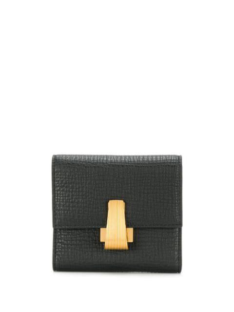 Bottega Veneta Textured Foldover Wallet In Black