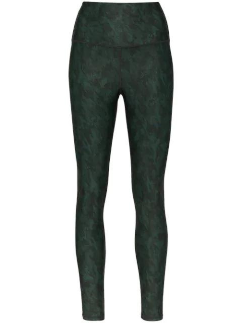 Nimble Activewear Brushed Army Printed Leggings In Green