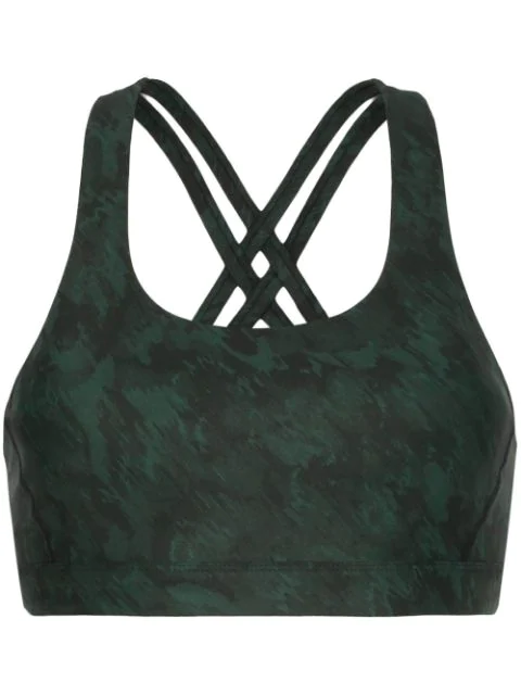 Nimble Activewear Double Tempo Printed Sports Bra In Green