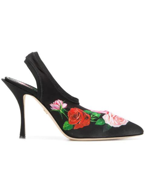 Dolce & Gabbana Floral-print Stretch-jersey Slingback Pumps In Black