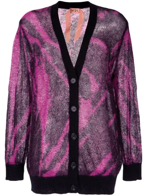 N°21 Zebra-Patterned Button-Front Cardigan In Pink