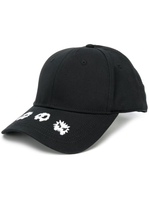 Mcq By Alexander Mcqueen Black Embroidered Cotton Cap