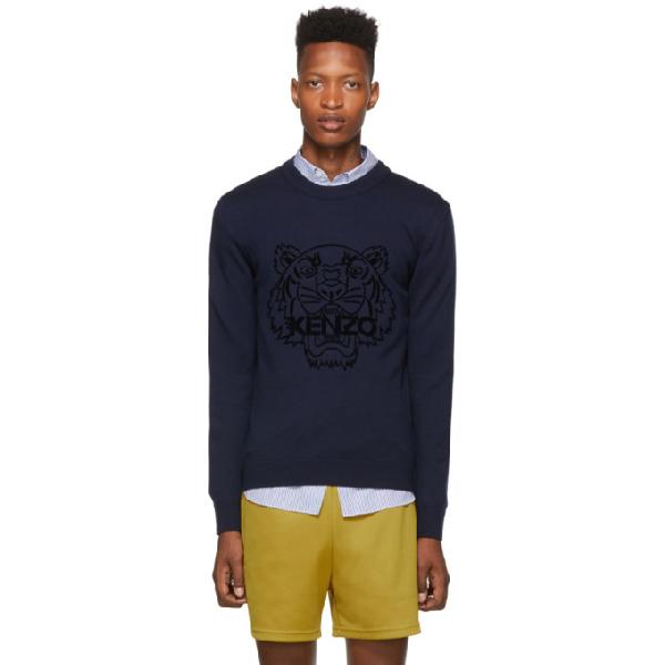 Kenzo Tiger Logo Sweatshirt In 76 Navy