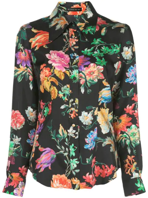 Etro Spaced Floral Print Silk Button-Front Blouse In Black Multi