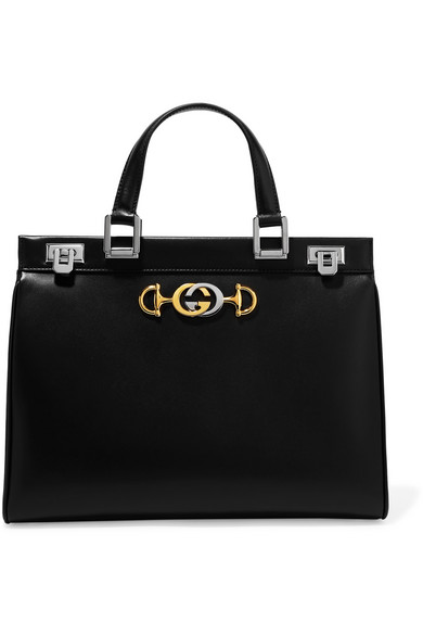 Gucci Zumi Small Embellished Leather Tote In Black