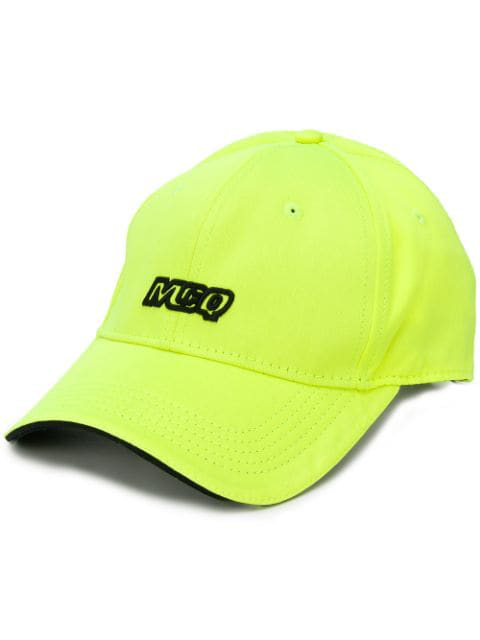 Mcq By Alexander Mcqueen Neon Yellow Embroidered Cotton Cap