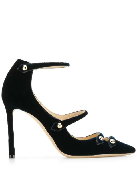 Jimmy Choo Lacey 85 Navy Velvet And Patent Pointed Toe Pumpss In Blue