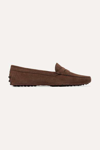 Tod's Mocassino Suede Loafers In Brown