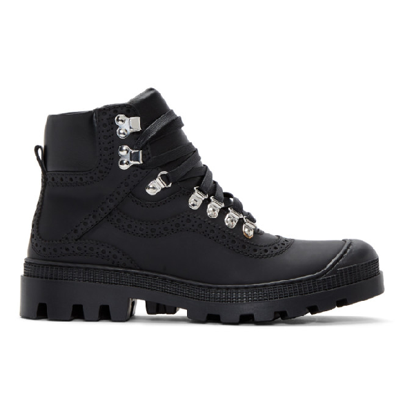 Loewe Hiking Combat Boots In Black Leather In 1100black
