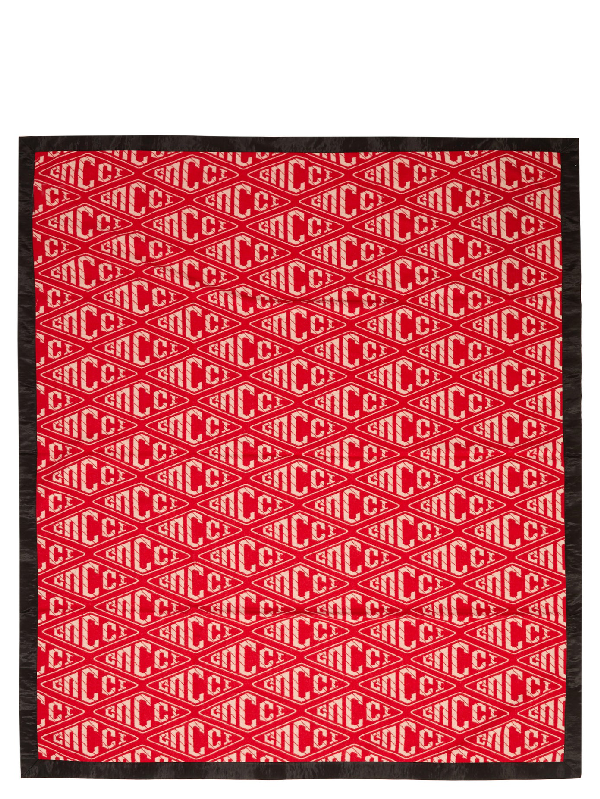 Gucci Rabbit-appliquÉ Wool-jacquard Blanket In Pink