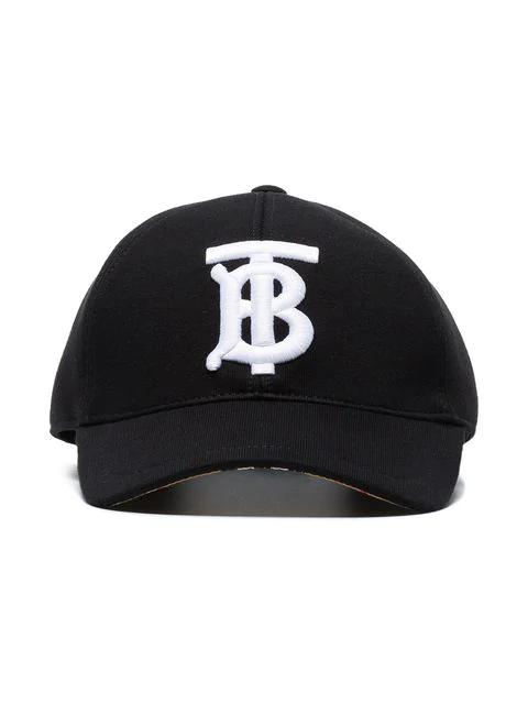 Burberry Black Tb Logo Embroidered Cotton Baseball Cap In A1189 Black