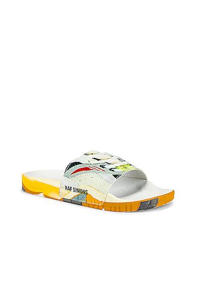 Adidas By Raf Simons Adidas X Raf Siimons Torsion Adilette Slides In White & Multi