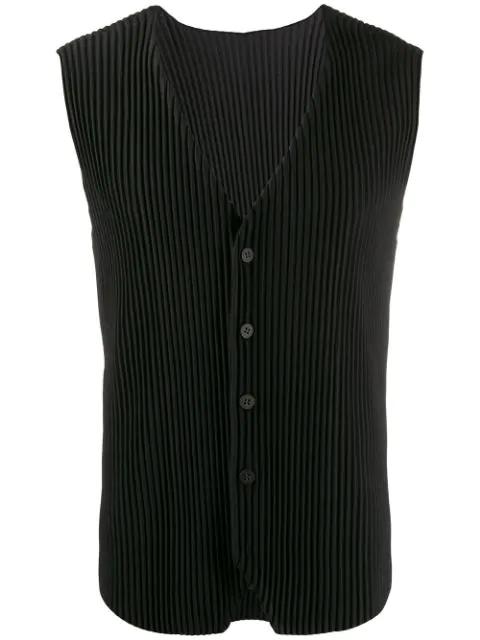 Pleats Please Issey Miyake Pleated Waistcoat In Black