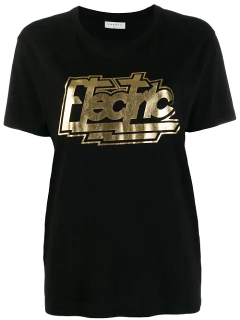 Sandro Electric Graphic Crewneck T-shirt In Black