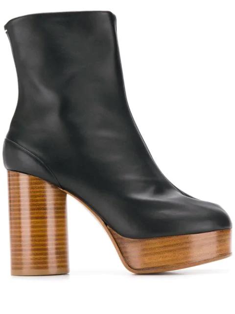 Maison Margiela Tabi Leather Platform Ankle Boots In Black