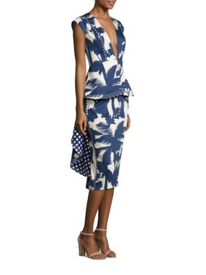 Johanna Ortiz Palmtree Shadow Dress In Sapphire-ecru