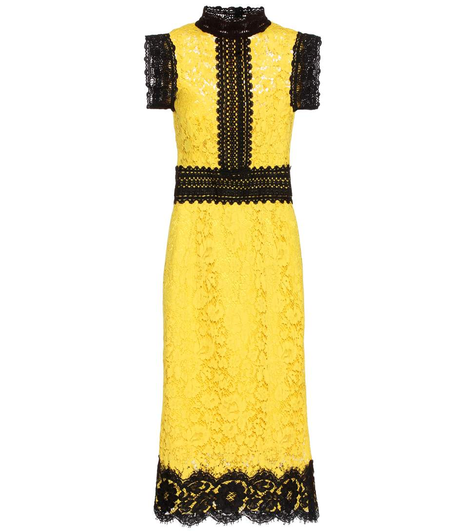 f9c1d5ef Dolce & Gabbana Two-Tone Floral Lace Cocktail Dress, Yellow/Black,  Brightyellow&Blck