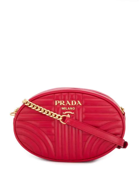 Prada Quilted Logo Cross Body Bag In Red