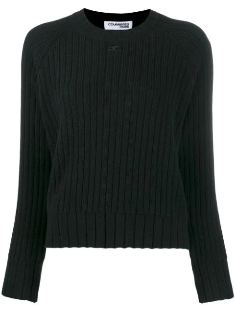 CourrÈGes Chunky Knit Jumper In Black