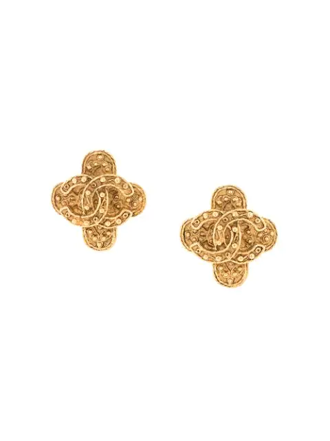 Pre-owned Chanel Cc Logos Earrings In Gold