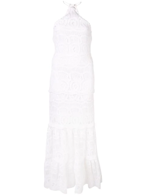 Alexis Yvonna Cotton Lace Halterneck Maxi Dress In White