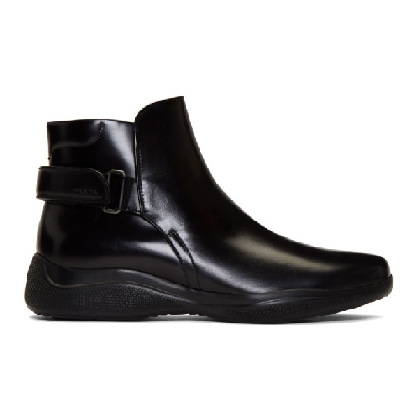 Prada Black Brushed Leather Ankle Boots In Nero