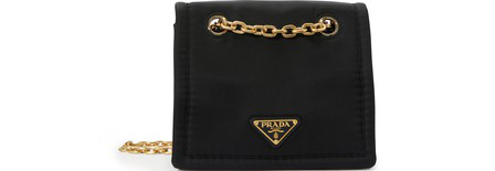 Prada Tessuto Chain Cross Body Bag In Black