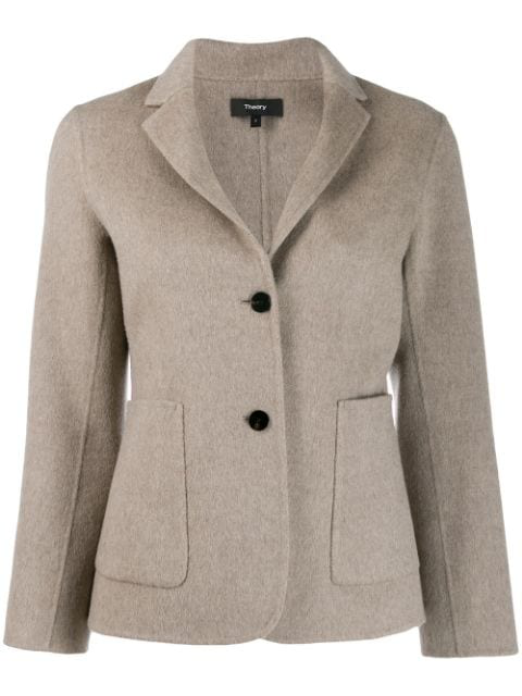 Theory Single-breasted Fitted Blazer In Neutrals